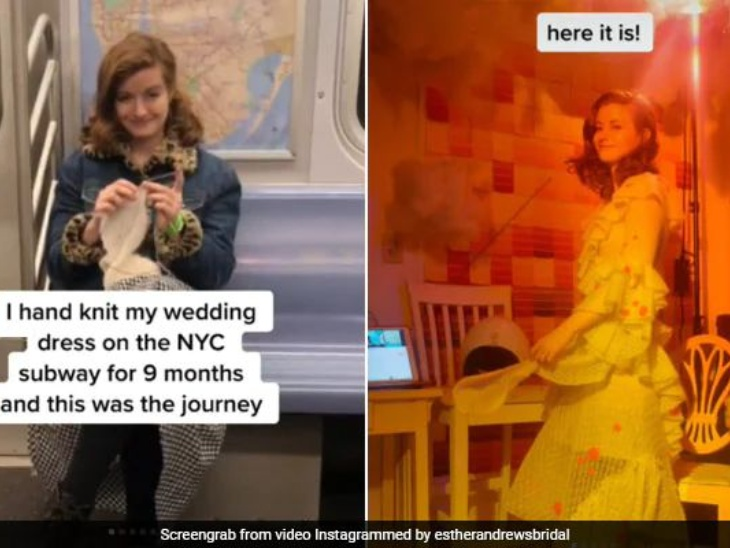 एक दुल्हन ने नौ महीने की मेहनत के बाद डिजाइन की अपनी वेडिंग ड्रेस, खुद के लिए फनी तो दूल्हे के लिए एस्ट्रोनॉट ड्रेस तैयार कर पाई सबकी तारीफ लाइफस्टाइल,Lifestyle - Dainik Bhaskar