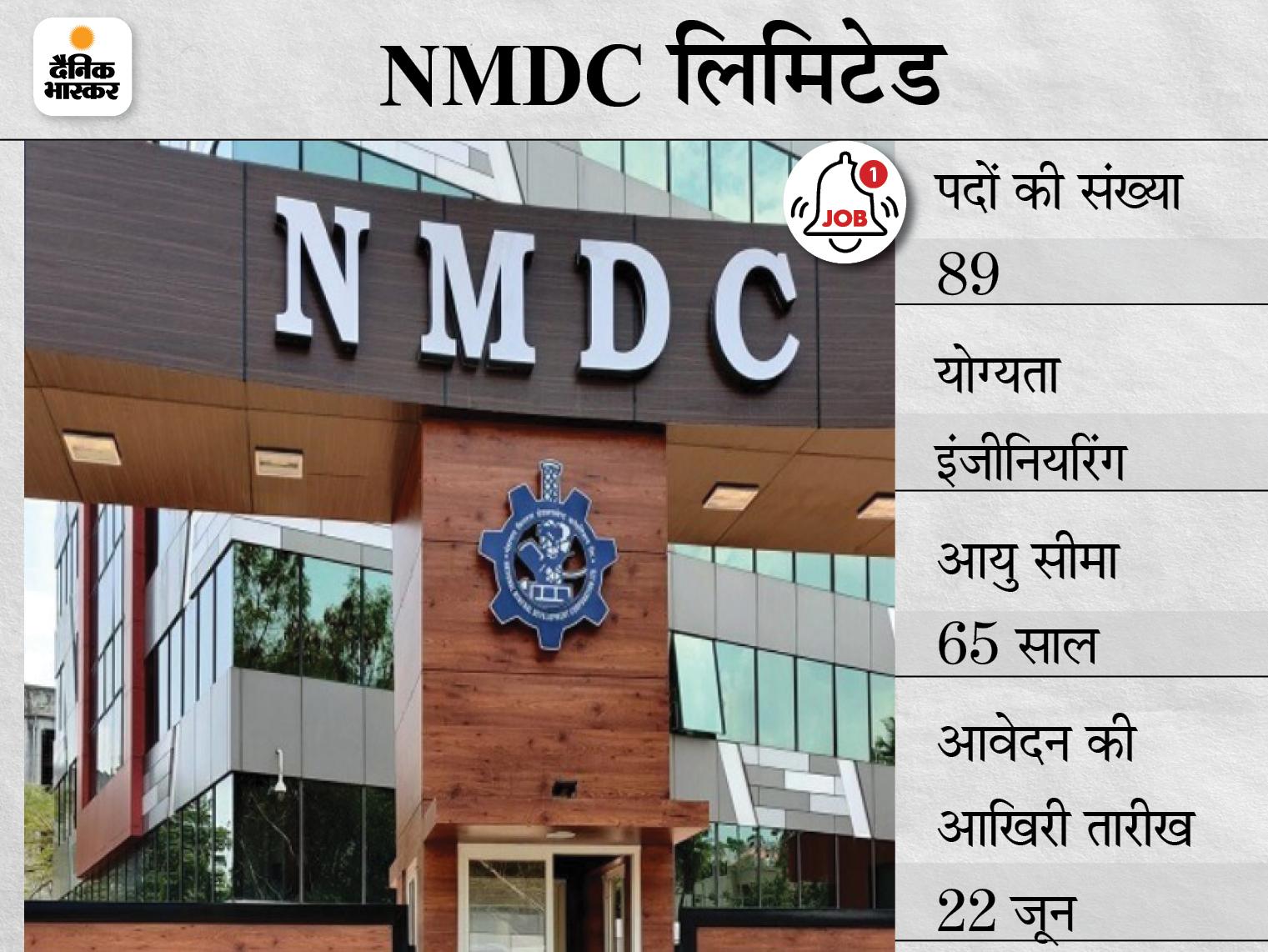 NMDC लिमिटेड में इंजीनियर के पदों पर भर्ती के लिए करें अप्लाई, आवेदन का आखिरी मौका कल|करिअर,Career - Dainik Bhaskar