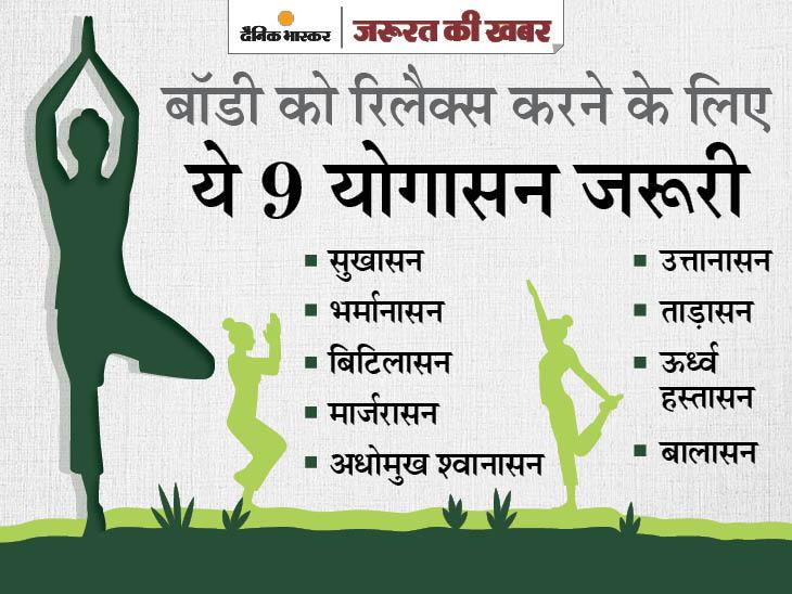 योग के लिए क्लास जरूरी नहीं, ऑफिस के बोर्ड रूम में भी कर सकते हैं; 5 मिनट की योग प्रैक्टिस से स्ट्रेस दूर होगा और दिमाग शांत रहेगा|ज़रुरत की खबर,Zaroorat ki Khabar - Dainik Bhaskar