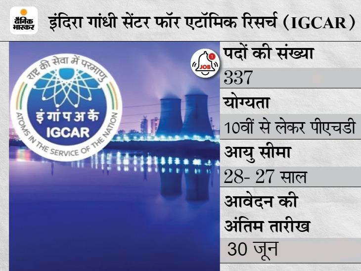 इंदिरा गांधी सेंटर फॉर एटॉमिक रिसर्च ने 337 पदों पर भर्ती के लिए बढ़ाई आवेदन की तारीख, अब 30 जून तक करें ऑनलाइन अप्लाई|करिअर,Career - Dainik Bhaskar