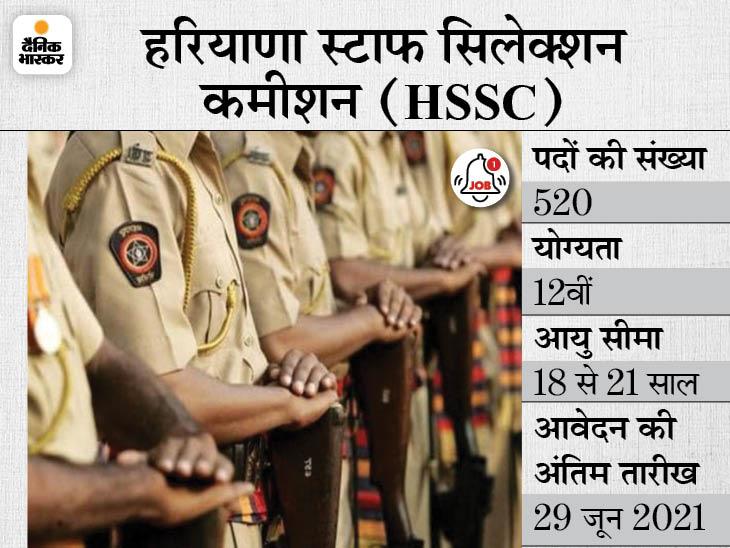 हरियाणा स्टाफ सिलेक्शन कमीशन ने कांस्टेबल के 520 पदों पर निकाली भर्ती, 29 जून तक जारी रहेगी आवेदन प्रक्रिया|करिअर,Career - Dainik Bhaskar