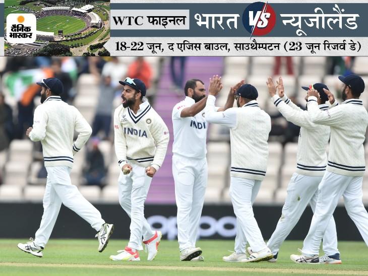 न्यूजीलैंड को ऑलआउट करने के बाद भारतीय कप्तान विराट कोहली और साथी खिलाड़ी।