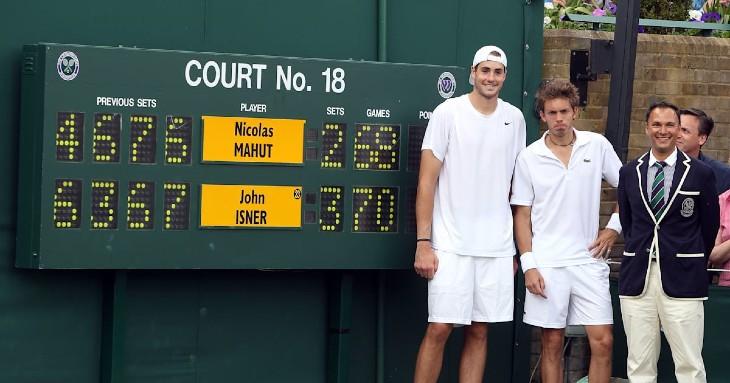 टेनिस इतिहास के सबसे लंबे मैच का नतीजा 24 जून 2010 को आया। तीन दिन चला ये मुकाबला जॉन इस्नर और निकोलस माहुत के बीच खेला गया था।