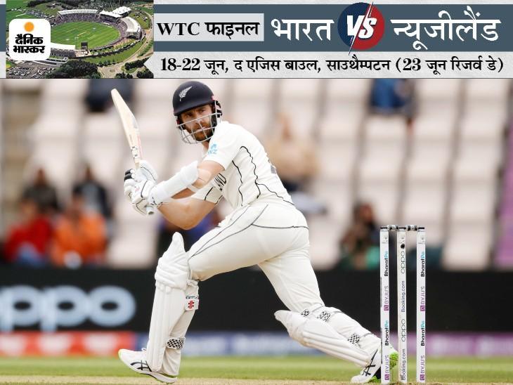 कीवी कप्तान एक छोर पर जमे रहे। उन्होंने धीमी बल्लेबाजी की, लेकिन अपनी टीम को भारत के स्कोर के पार ले जाने में सफल रहे। 221 रन के टीम स्कोर पर विलियम्सन (49) आउट हुए। वे 1 रन से फिफ्टी से चूक गए।