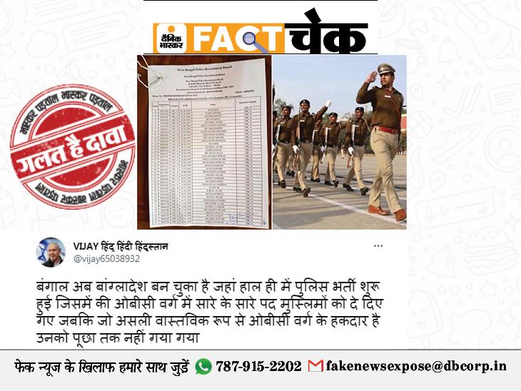 बंगाल में 37 पुलिसकर्मियों की भर्ती में 35 मुस्लिम कैंडिडेट्स का सिलेक्शन हुआ? जानिए इस दावे की सच्चाई|फेक न्यूज़ एक्सपोज़,Fake News Expose - Dainik Bhaskar