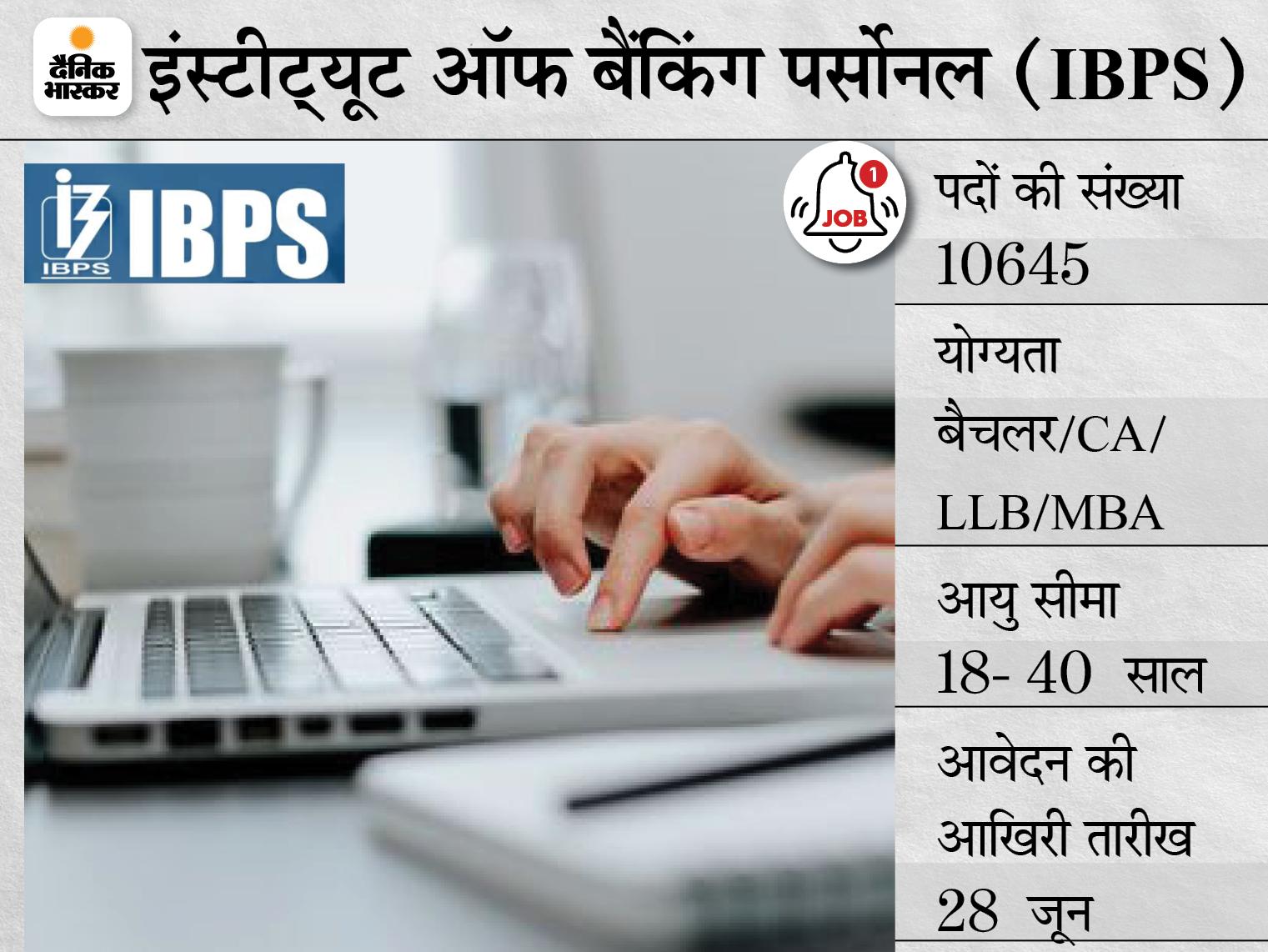 IBPS ने भर्ती के लिए बढ़ाई पदों की संख्या, अब 12,097 पदों पर की जाएगी नियुक्ति; आवेदन की आखिरी तारीख आज|करिअर,Career - Dainik Bhaskar