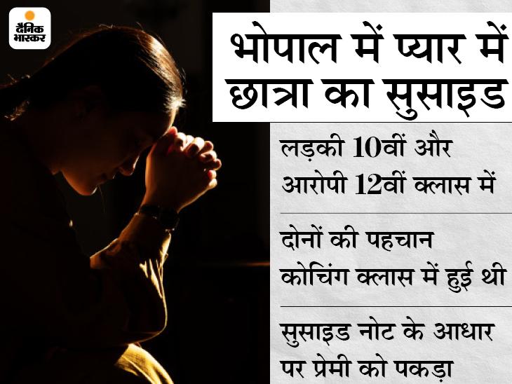 प्यार में धोखे से दुखी होकर 10वीं की स्टूडेंट ने फांसी लगाई; पुलिस ने 5 दिन बाद 12वीं के छात्र को आरोपी बनाया|भोपाल,Bhopal - Dainik Bhaskar