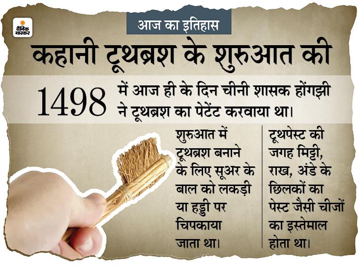 सूअर के बाल को हड्डी पर चिपकाकर बना था पहला टूथब्रश, 523 साल पहले चीन के राजा ने कराया था इसे पेटेंट|देश,National - Dainik Bhaskar