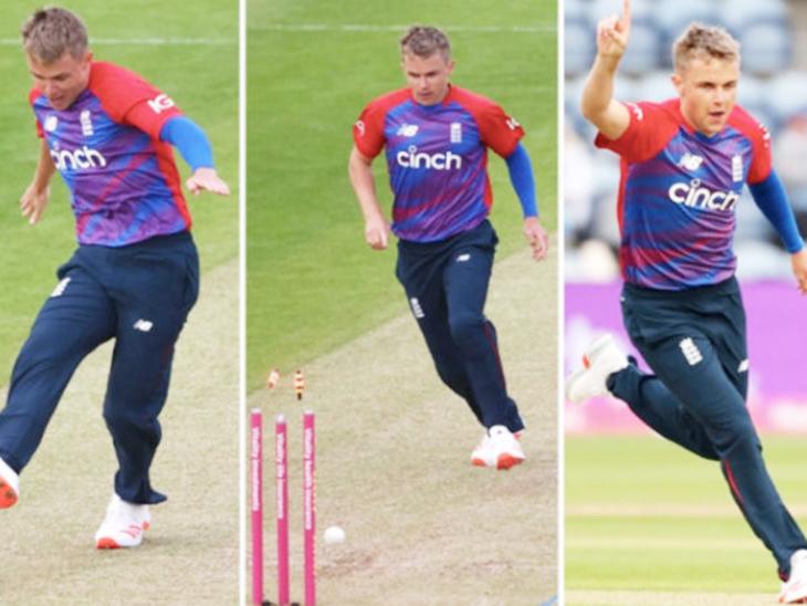 श्रीलंका के खिलाफ गुरुवार को कार्डिफ में खेले गए दूसरे टी-20 मैच में इंग्लिश ऑलराउंडर सैम करन ने अपनी फुटबॉल स्किल्स भी दिखाई। - Dainik Bhaskar