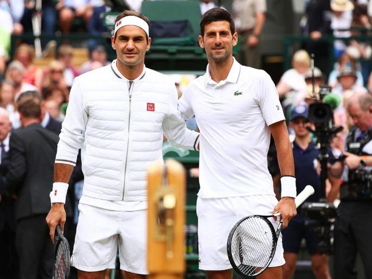 विम्बलडन के ड्रॉ के मुताबिक नोवाक जोकोविच (दाएं) और फेडरर फाइनल से पहले आमने-सामने नहीं हो सकते हैं। - Dainik Bhaskar