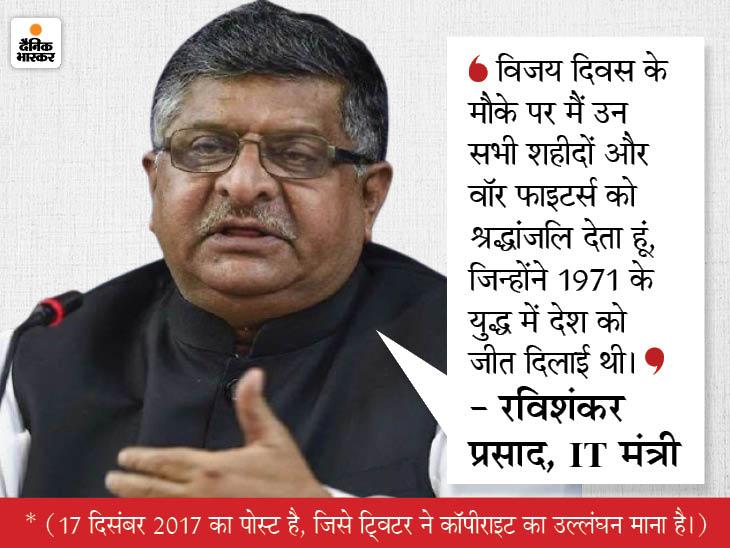 रविशंकर प्रसाद ने 42 महीने पहले ट्वीट कर शहीदों को श्रद्धांजलि दी थी, 2017 की उस पोस्ट को ट्विटर ने कॉपीराइट का उल्लंघन माना देश,National - Dainik Bhaskar