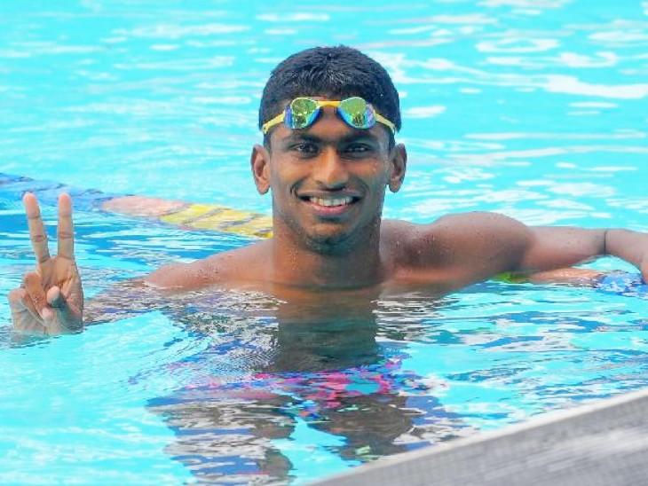 भारतीय तैराक साजन प्रकाश ने 200 मीटर बटरफ्लाई रेस को 1 मिनट 56.38 सेकेंड में जीता और 'A' कट भी हासिल किया। -फाइल फोटो - Dainik Bhaskar
