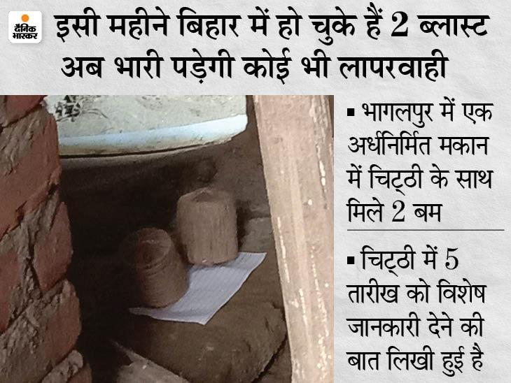10 दिनों के अंदर हुए दो ब्लास्ट, अब भागलपुर में चिट्ठी के साथ मिले 2 बम, पुलिस कह रही नहीं है कोई खास बात|भागलपुर,Bhagalpur - Dainik Bhaskar