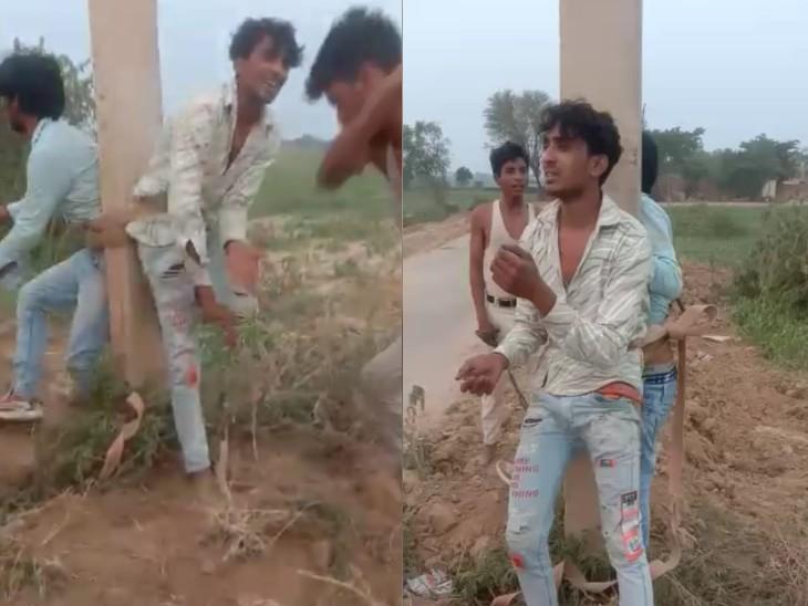 पुलिस ने वायरल वीडियो के आधार पर 15 लोगों के खिलाफ किया नामजद मामला दर्ज, बिजली के खंभे से बांधकर की थी चोरों की पिटाई भरतपुर,Bharatpur - Dainik Bhaskar