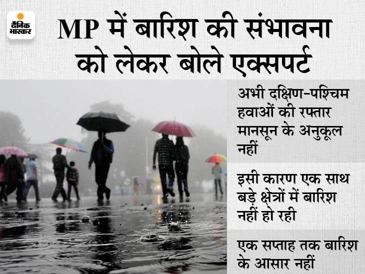 हवाओं ने बिगाड़ा MP का सिस्टम; राजस्थान, गुजरात के रास्ते हरियाणा और उत्तर प्रदेश चले गए बादल, एक और हफ्ता सूखा गुजरेगा|इंदौर,Indore - Dainik Bhaskar