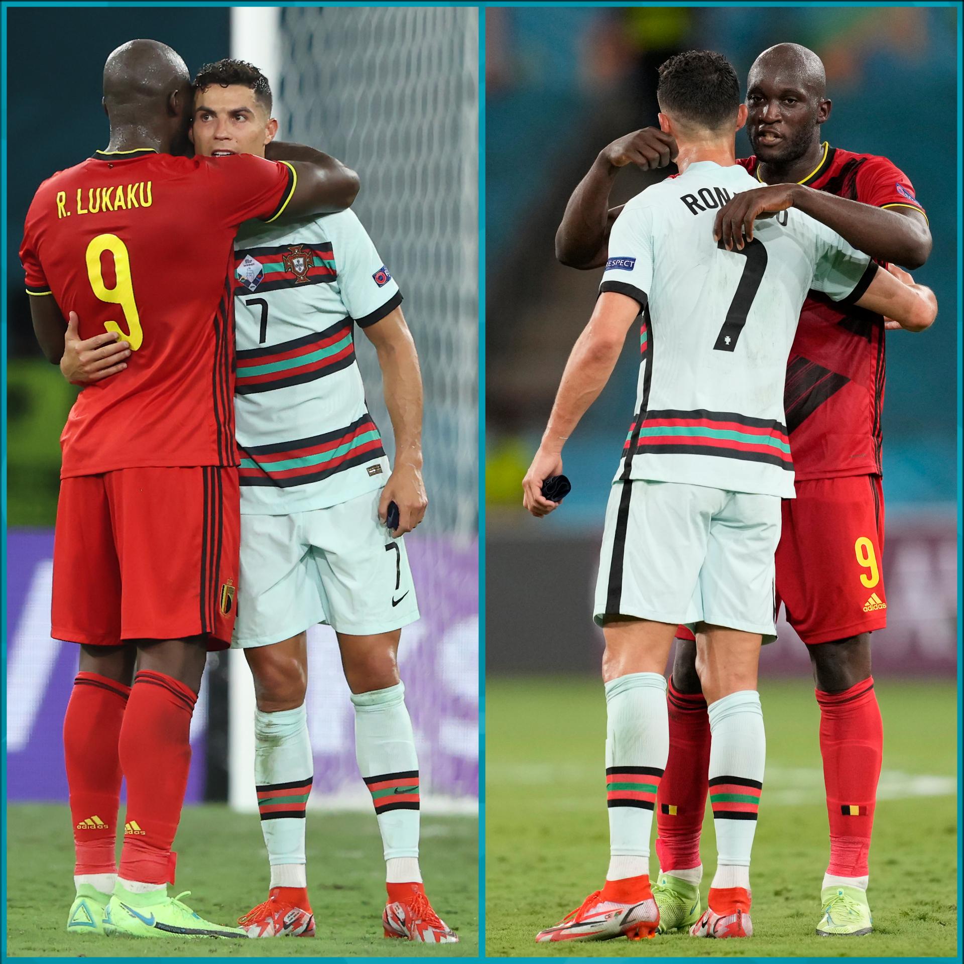 मैच के बाद बेल्जियम के रोमेलू लुकाकू ने रोनाल्डो को गले से लगा लिया।