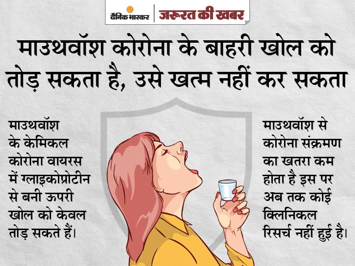 माउथवॉश करने से भी कोरोना वायरस के संक्रमण का खतरा कम नहीं होता, नाक में मौजूद वायरस कुछ ही समय में गले तक पहुंच जाता है|ज़रुरत की खबर,Zaroorat ki Khabar - Dainik Bhaskar