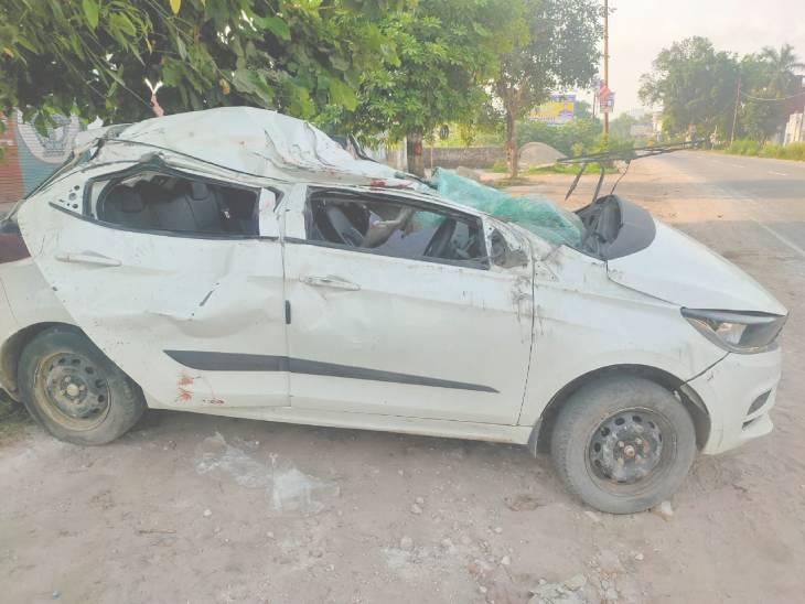ड्राइवर को लगी झपकी, अनियंत्रित होकर पलट गई तेज रफ्तार कार; दो की मौत, तीन घायल मेरठ,Meerut - Dainik Bhaskar