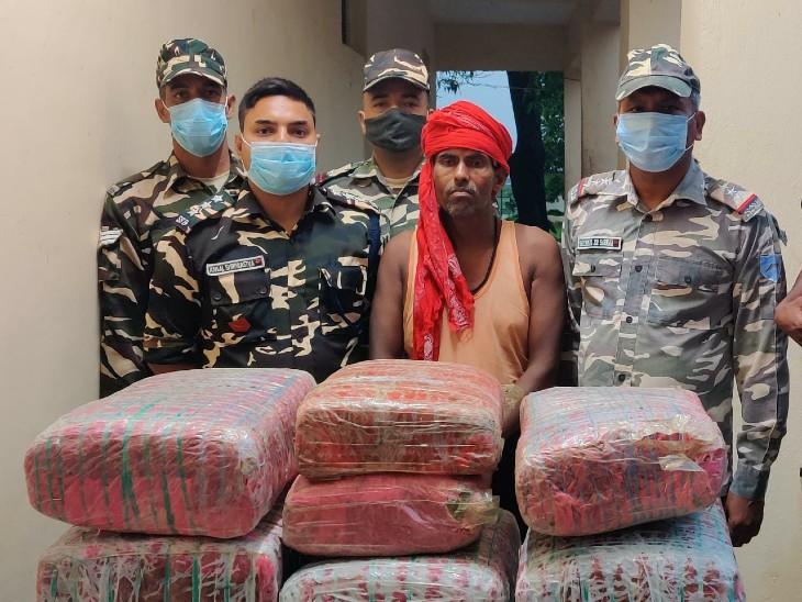 SSB जवानों ने इंडो-नेपाल बॉर्डर पर एक तस्कर को किया गिरफ्तार, नेपाल से लाया जा रहा था गांजा|बिहार,Bihar - Dainik Bhaskar