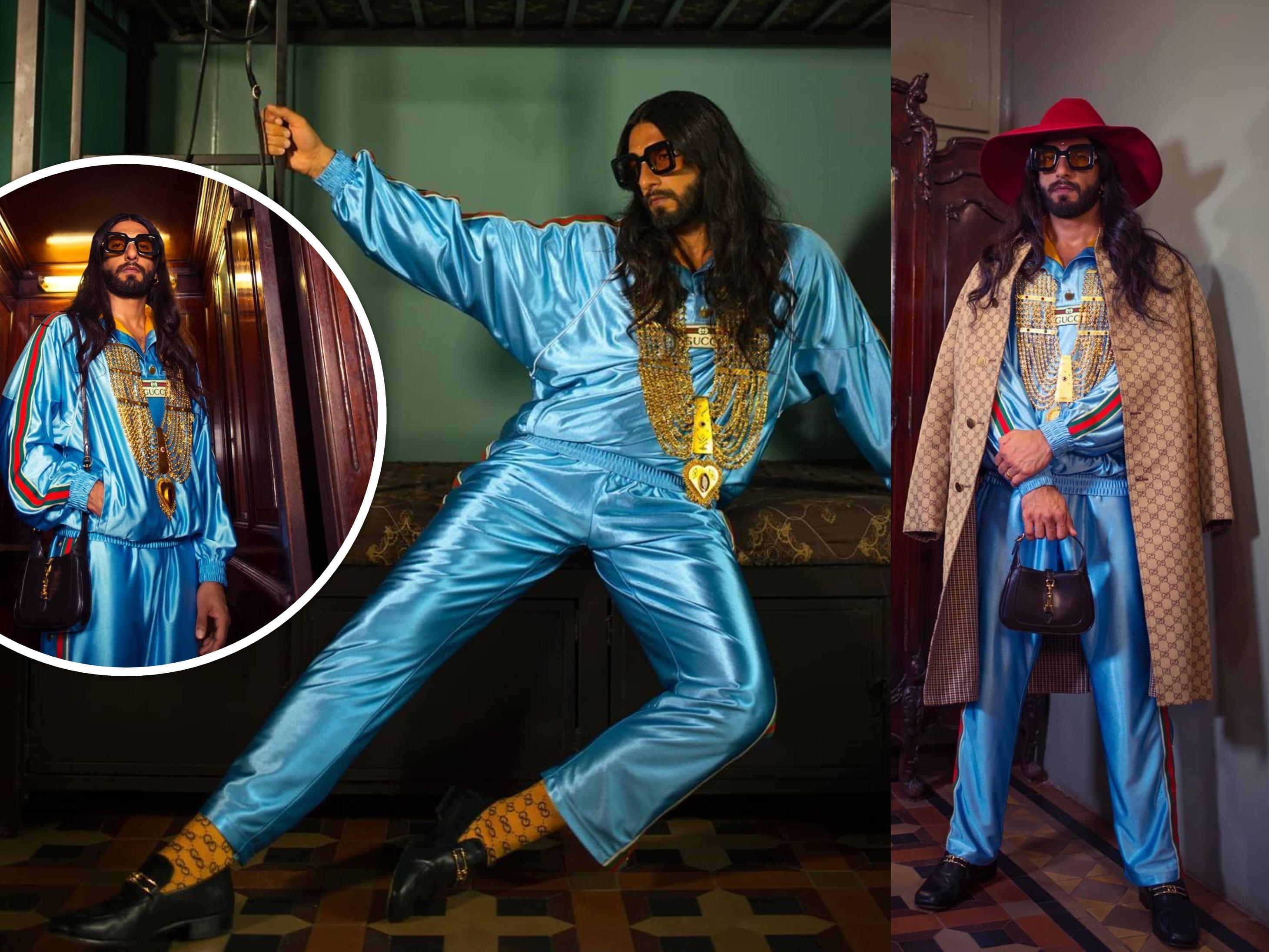 Ranveer Singh's Gucci-special look photos and users celebrate meme fest on social media said him as baba ranveer das | लम्बे बाल और सोने का हार पहने दिखे रणवीर सिंह, यूज़र्स बोले-बाबा रणवीरदास कतई तीतर लग रहा है