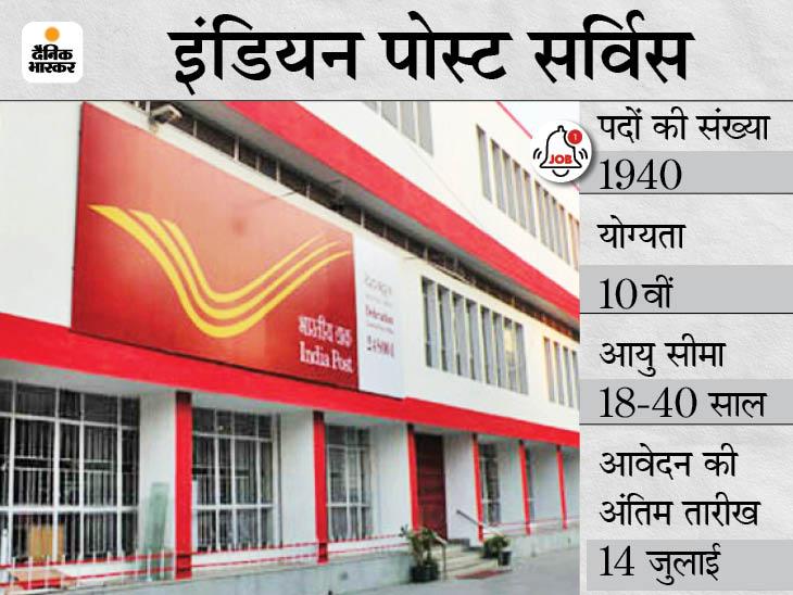 इंडियन पोस्ट सर्विस ने GDS के 1940 पदों के लिए फिर शुरू की आवेदन प्रक्रिया, 14 जुलाई तक करें अप्लाई|करिअर,Career - Dainik Bhaskar