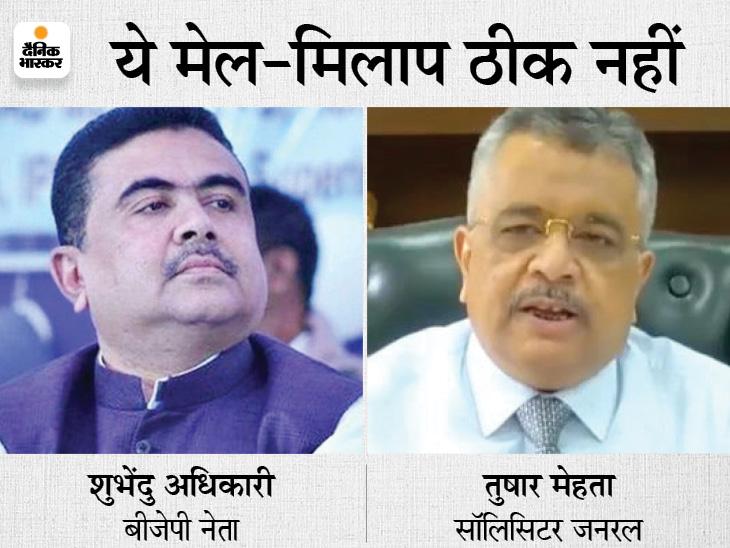 TMC ने मोदी को लिखी चिट्ठी, कहा- घोटाले के आरोपी शुभेंदु अधिकारी से SG का मिलना गलत; तुषार मेहता बोले- मुलाकात ही नहीं हुई|देश,National - Dainik Bhaskar