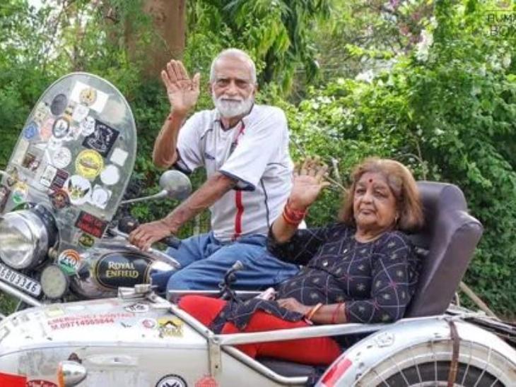 वड़ोदरा के एक बुजुर्ग कपल ने बुलेट पर की इंडिया की सैर, उसने कहा कि मेरी उम्र अभी सिर्फ 67 साल है, मैं बूढ़े इंसान की तरह मरना नहीं चाहता|लाइफस्टाइल,Lifestyle - Dainik Bhaskar