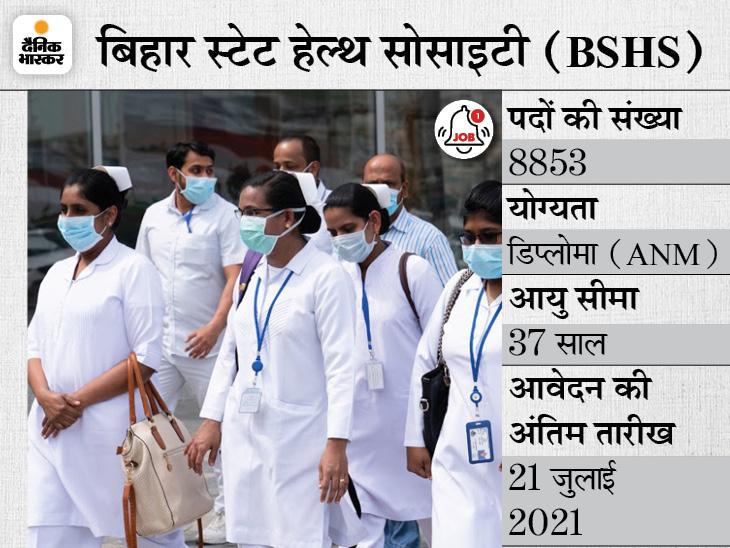 बिहार स्टेट हेल्थ सोसाइटी ने नर्स के 8853 पदों पर निकाली भर्ती, 21 जुलाई तक ऑनलाइन करें अप्लाई|करिअर,Career - Dainik Bhaskar