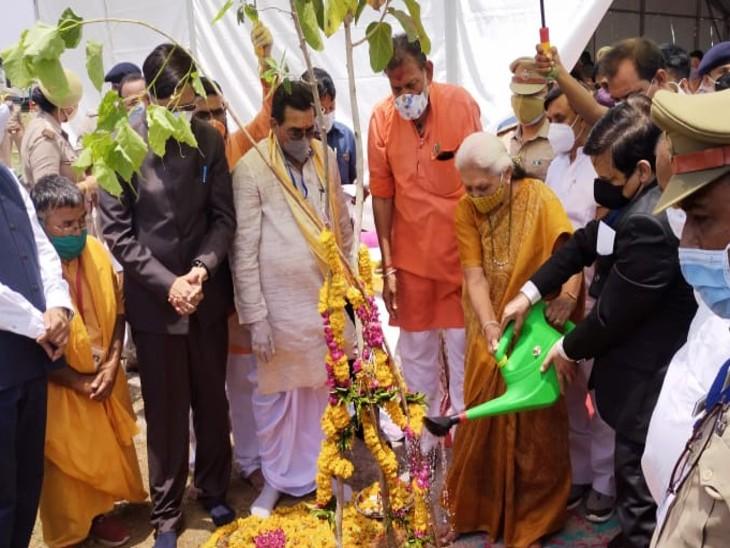 UP की राज्यपाल ने झांसी में पौधरोपण कार्यक्रम का शुभारंभ किया, कहा- कोरोना में पता चला ऑक्सीजन का महत्व|झांसी,Jhansi - Dainik Bhaskar