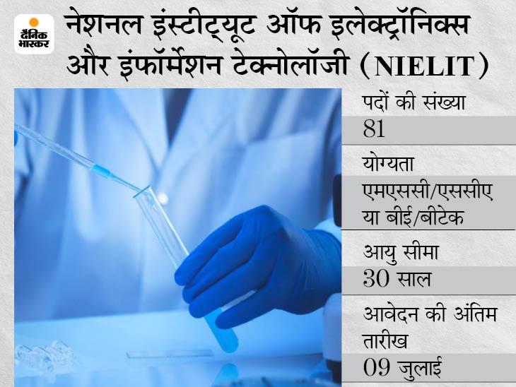 NIELIT ने साइंटिस्ट और असिस्टेंट साइंटिस्ट के पदों पर निकाली भर्ती, 9 जुलाई तक जारी रहेगी एप्लीकेशन प्रोसेस|करिअर,Career - Dainik Bhaskar