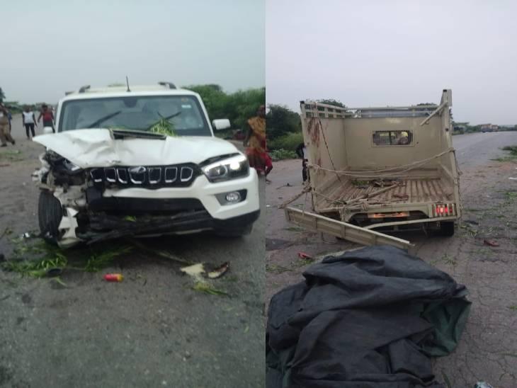 मंदिर जाती मिनी ट्रक को स्कॉर्पियो ने मारी टक्कर, हादसे में 19 लोग घायल|मिर्जापुर,Mirzapur - Dainik Bhaskar