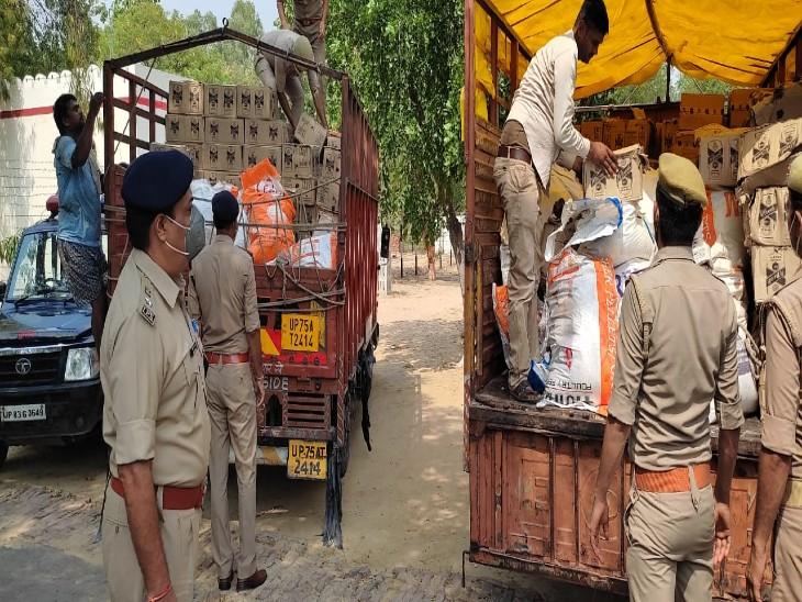 चावल और लाई के बोरों में छिपाकर लाई जा रही थी 50 लाख की शराब, पुलिस ने अंग्रेजी शराब की 550 पेटियां बरामद की|फिरोजाबाद,Firozabad - Dainik Bhaskar