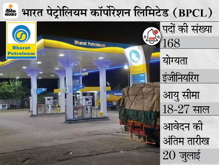 भारत पेट्रोलियम लिमिटेड ने अप्रेंटिस के 168 पदों पर भर्ती के लिए मांगे आवेदन, 20 जुलाई तक जारी रहेगी एप्लीकेशन प्रोसेस|करिअर,Career - Dainik Bhaskar