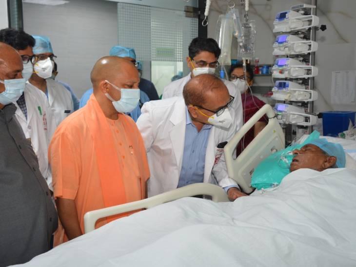UP के पूर्व CM कल्याण सिंह का हाल चाल लेने SGPGI पहुंचे योगी, डॉक्टरों का दावा- पहले से सेहत में हो रहा सुधार|लखनऊ,Lucknow - Dainik Bhaskar