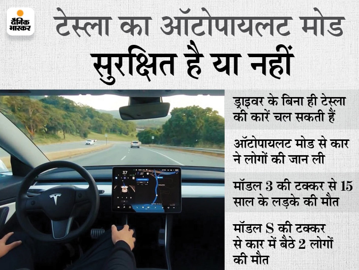 बिना ड्राइवर सड़कों पर दौड़ती हैं टेस्ला की कारें, लेकिन कई लोगों की मौत की वजह बनीं; कंपनी की नजर में टेक्नोलॉजी पूरी तरह सुरक्षित|टेक & ऑटो,Tech & Auto - Dainik Bhaskar