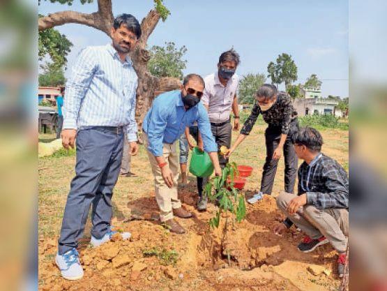 टंकी निर्माण स्थल का निरीक्षण करने के बाद पौधरोपण करते अधिकारी - Dainik Bhaskar