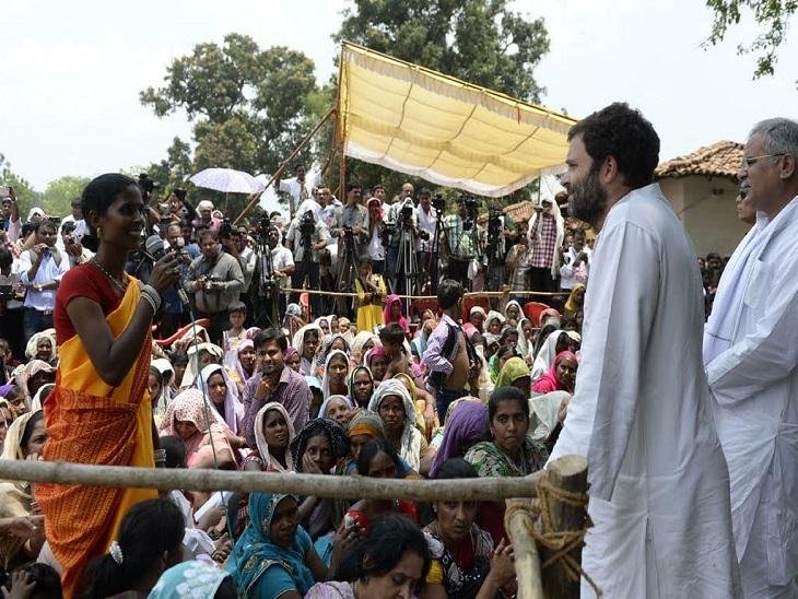 राहुल गांधी और भूपेश बघेल ने विस्थापन और हाथी के हमलों से प्रभावित कुदमुरा गांव के लोगों को संरक्षण का भरोसा दिया था।