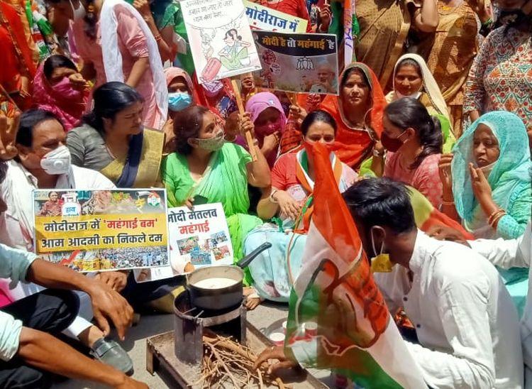 महिला कांग्रेस की जिलाध्यक्ष बोली- मोदीराज में बढ़ी महंगाई, आप चाय बनाओ; सरकार कांग्रेस चला लेगी|पाली,Pali - Dainik Bhaskar