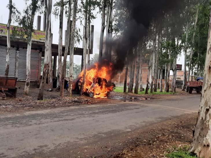 पेट्रोल पंप के पास खड़ी कार में लगी आग, पेट्रोल टंकी की पाइप वेल्डिंग करने के क्रम में लगी आग|रांची,Ranchi - Dainik Bhaskar