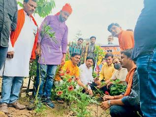 पौधा लगाते भाजयुमो कार्यकर्ता। - Dainik Bhaskar