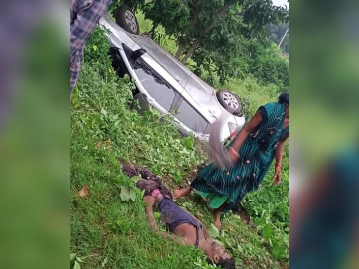 दानापुर में तेज रफ्तार कार 6 लोगों पर चढ़ी, 2 ने मौके पर ही तोड़ा दम; भागते समय कार भी गड्ढे में पलटी, 3 घायल|पटना,Patna - Dainik Bhaskar