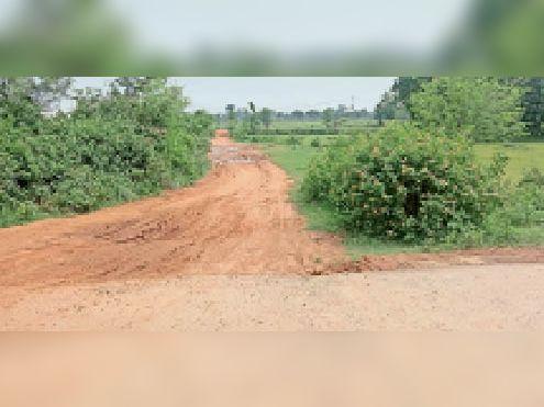 पूर्वी कोल्हुआ गांव जाने वाली कच्ची सड़क। - Dainik Bhaskar