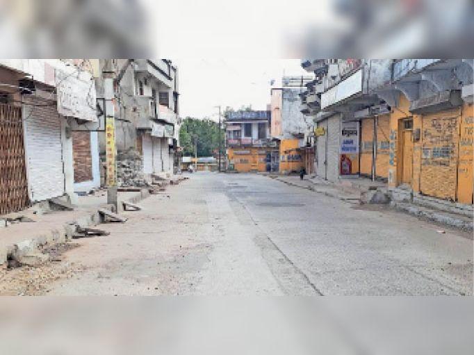 झालरापाटन बंद के दौरान बाजार में पसरा सन्नाटा। - Dainik Bhaskar