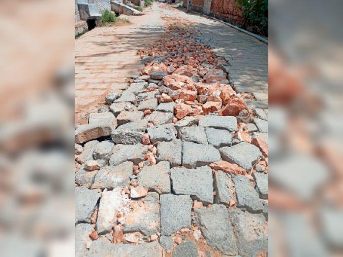 छिलरो की गलियों में टूटी टाइल व रोड़े डालकर भर दिए गड्ढ़े। - Dainik Bhaskar