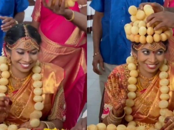दक्षिण भारतीय दुल्हन ने शादी में पहनी गोलगप्पे की माला और ताज, चाट के प्रति अपनी दीवानगी को बयां करने के लिए किया ये काम लाइफस्टाइल,Lifestyle - Dainik Bhaskar