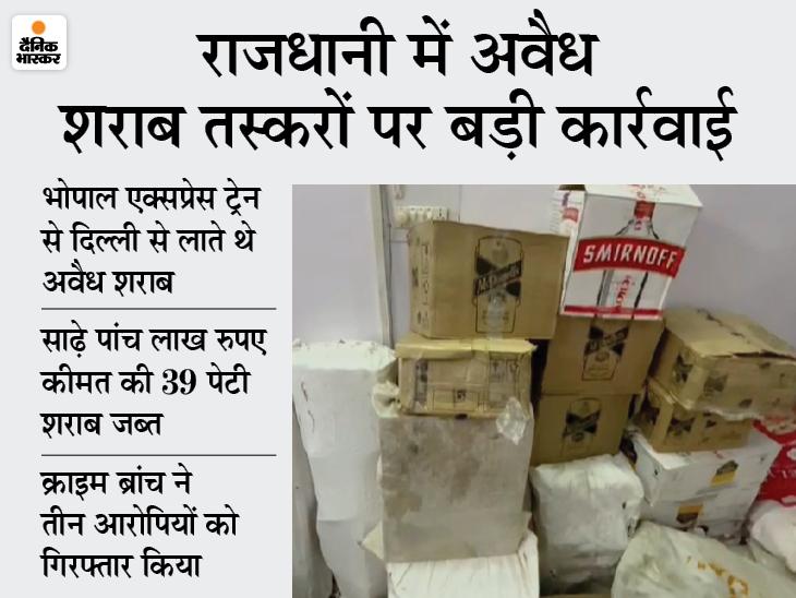साढ़े पांच लाख कीमत की 39 पेटी शराब जब्त, तीन गिरफ्तार, भोपाल एक्सप्रेस ट्रेन के माध्यम से दिल्ली से लाते थे शराब भोपाल,Bhopal - Dainik Bhaskar