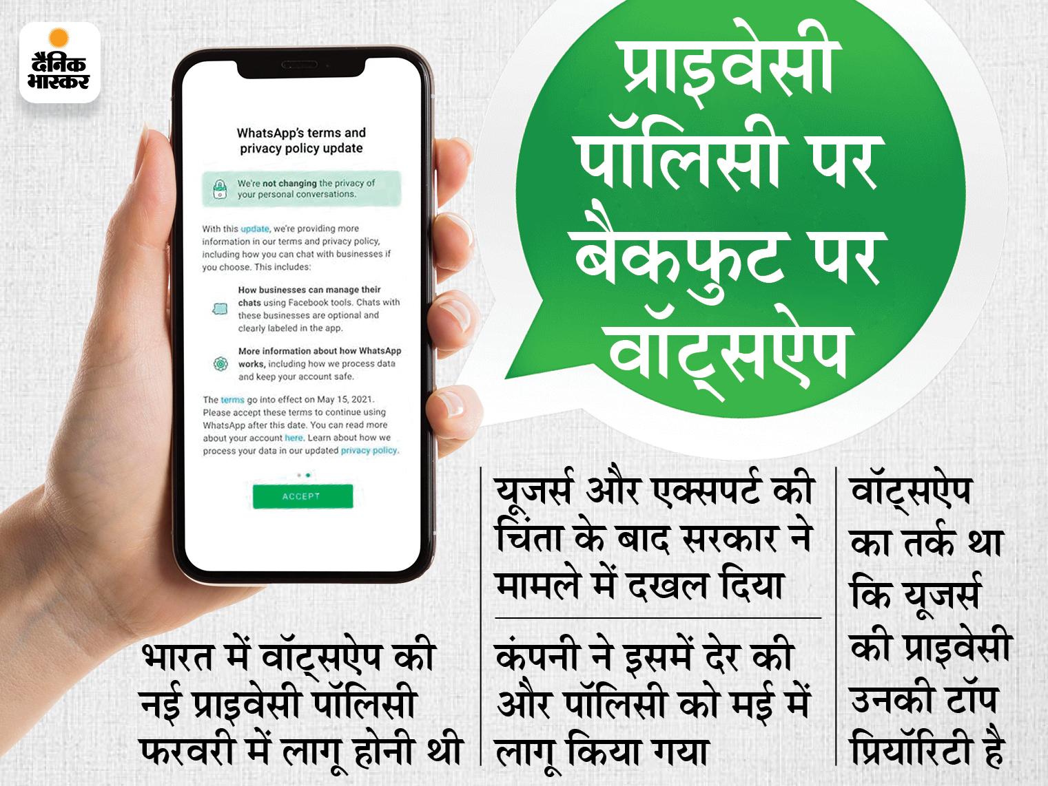 वॉट्सऐप ने कोर्ट से कहा- डेटा प्रोटेक्शन कानून बनने तक यूजर्स को प्राइवेसी पॉलिसी अपनाने को मजबूर नहीं करेंगे|देश,National - Dainik Bhaskar