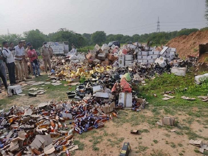 3 साल में 4000 पेटी शराब पकड़ी थी वाराणसी के रामनगर थाने की पुलिस, अदालत से अनुमति लेकर की गई नष्ट|वाराणसी,Varanasi - Dainik Bhaskar