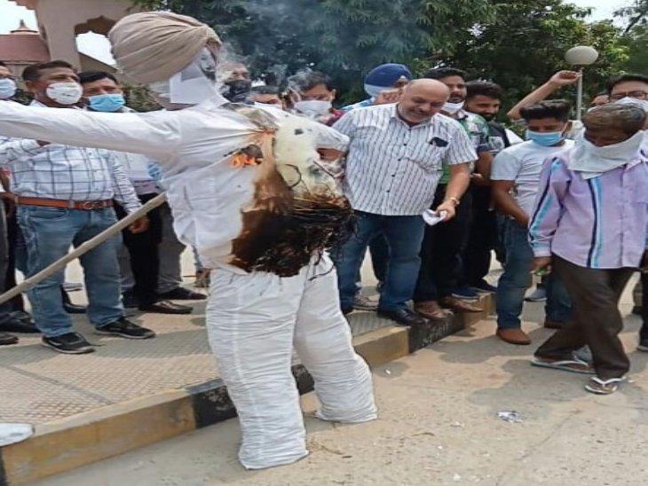 अमृतसर में चिकित्सकों की हड़ताल दूसरे दिन भी जारी, मुख्यमंत्री अमरिंदर सिंह के पुतले का किया दाह संस्कार पंजाब,Punjab - Dainik Bhaskar