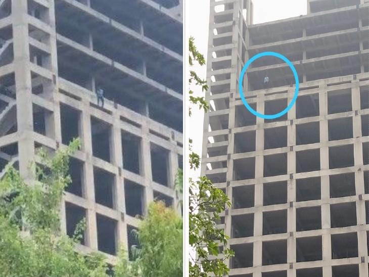 गर्लफ्रैंड के नाराज होने पर विदेशी युवक 14वीं मंजिल पर चढ़ गया, निर्माणाधीन बिल्डिंग से हवा में लटकर की आत्महत्या की कोशिश; पुलिस ने 2 घंटे की मशक्कत के बाद नीचे उतारा|गौतम बुद्ध नगर,Gautambudh Nagar - Dainik Bhaskar